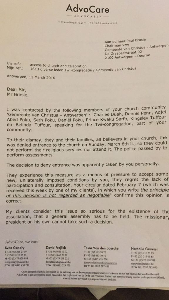 The persecuted congregation church of christ antwerpen deurne after this letter the secretary of the vzw called the lawyer to falsely claim that we had settled our differences stopboris Image collections